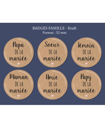Badge Famille Kraft 32 mm