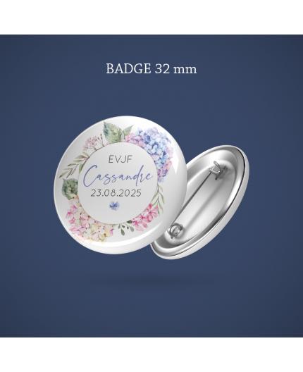 Badge EVJF Hortensia 32 mm