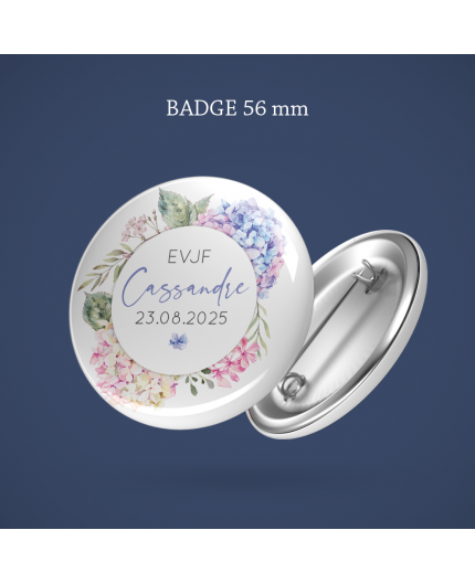 Badge EVJF Hortensia 56 mm