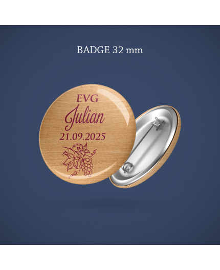 Badge EVG Caisse vin 32 mm