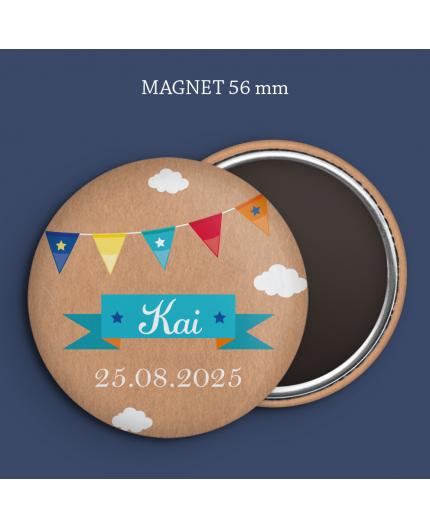 Faire-part naissance magnet Kraft & guirlande