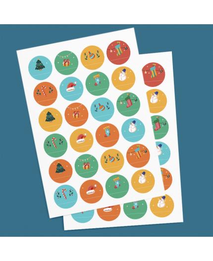 Planche Stickers cadeaux Noël