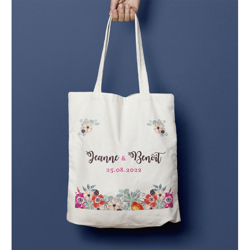 Tote bag mariage Anémone