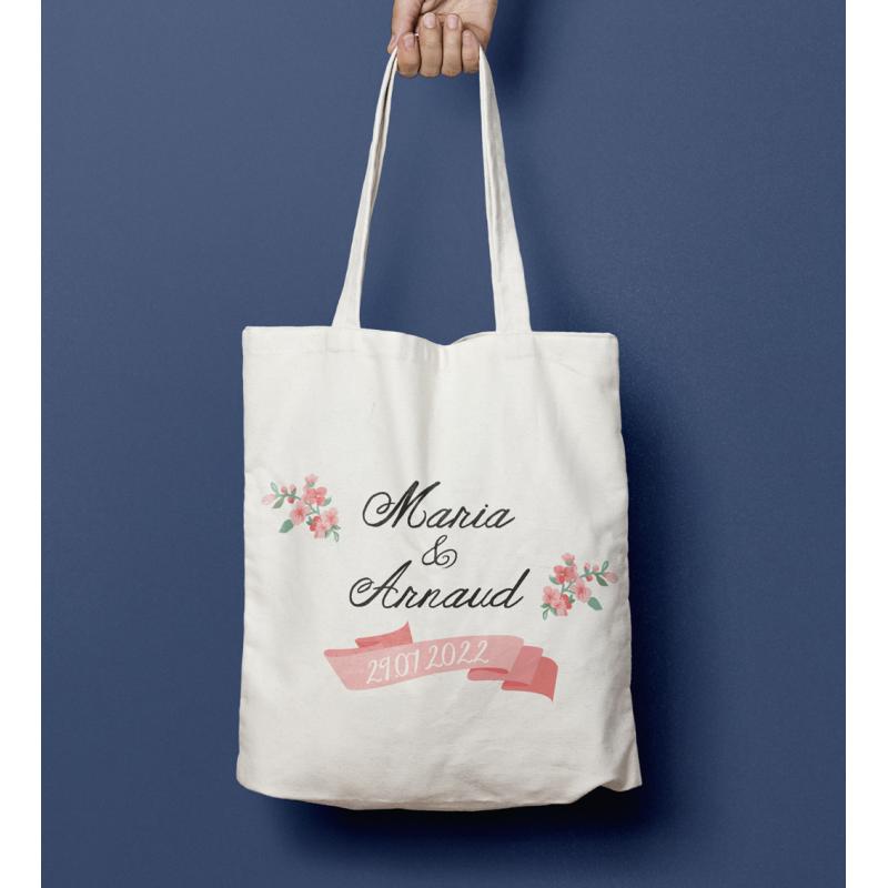 Tote bag mariage Fleurs des champs