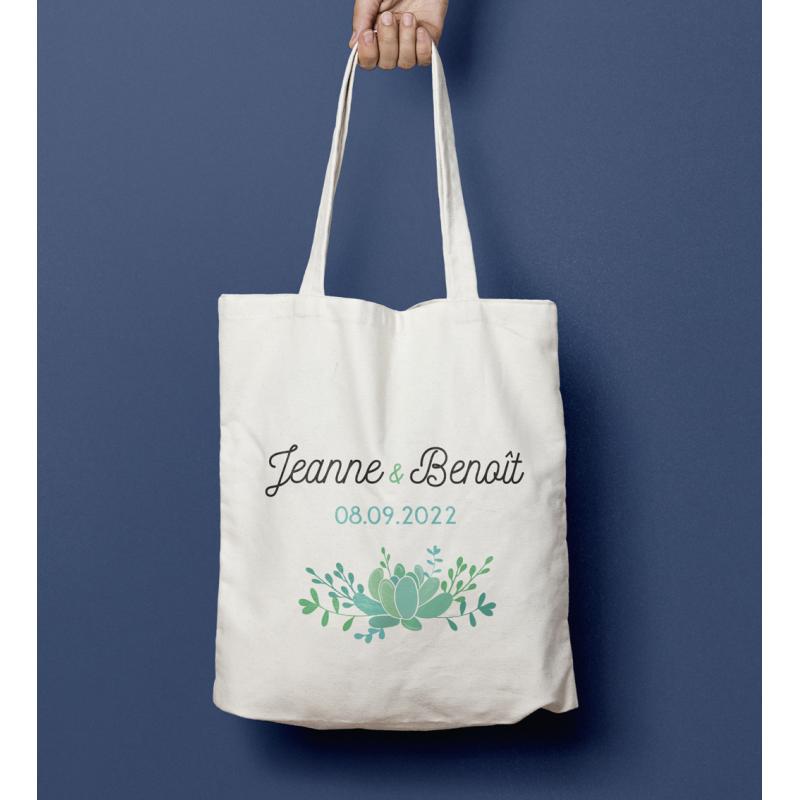 Tote bag mariage Succulente