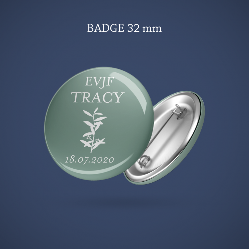 Badge EVJF Branche olivier 32 mm