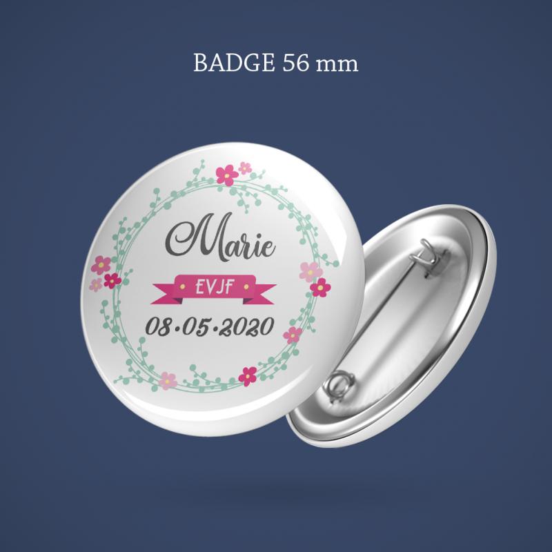 Badge EVJF Couronne fleurs 56 mm