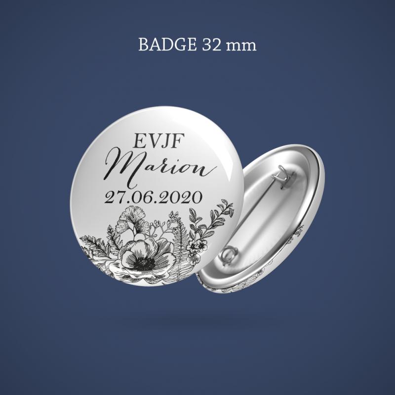Badge EVJF Gravure anémone 32 mm