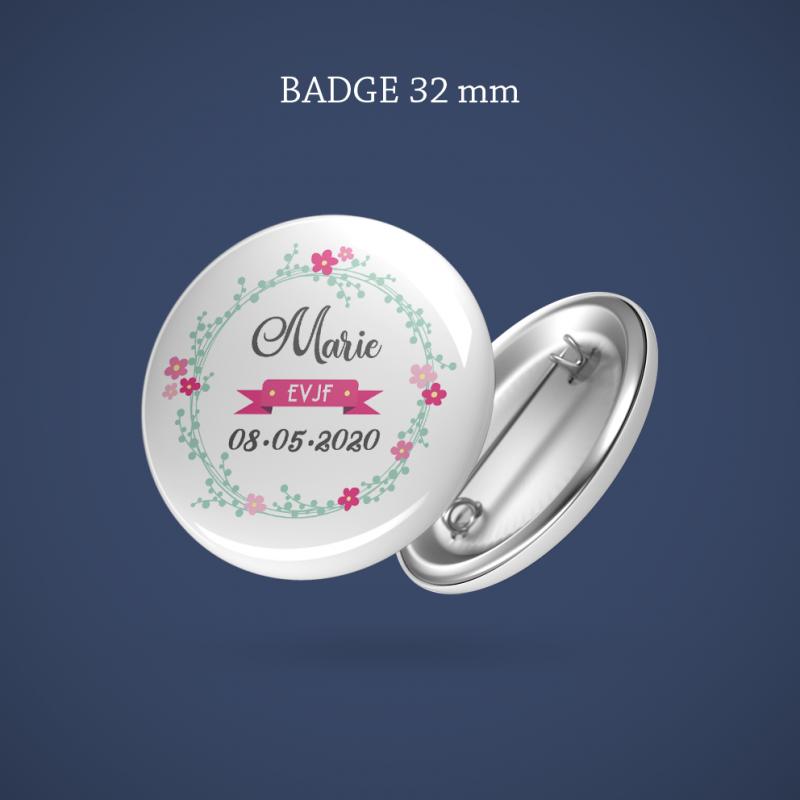 Badge EVJF Couronne fleurs 32 mm