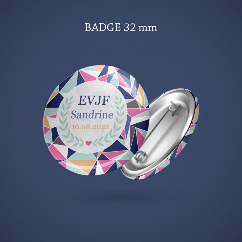 Badge EVJF Lovely geometry 32 mm