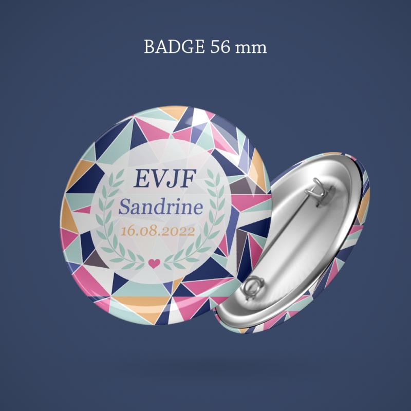 Badge EVJF Lovely geometry 56 mm