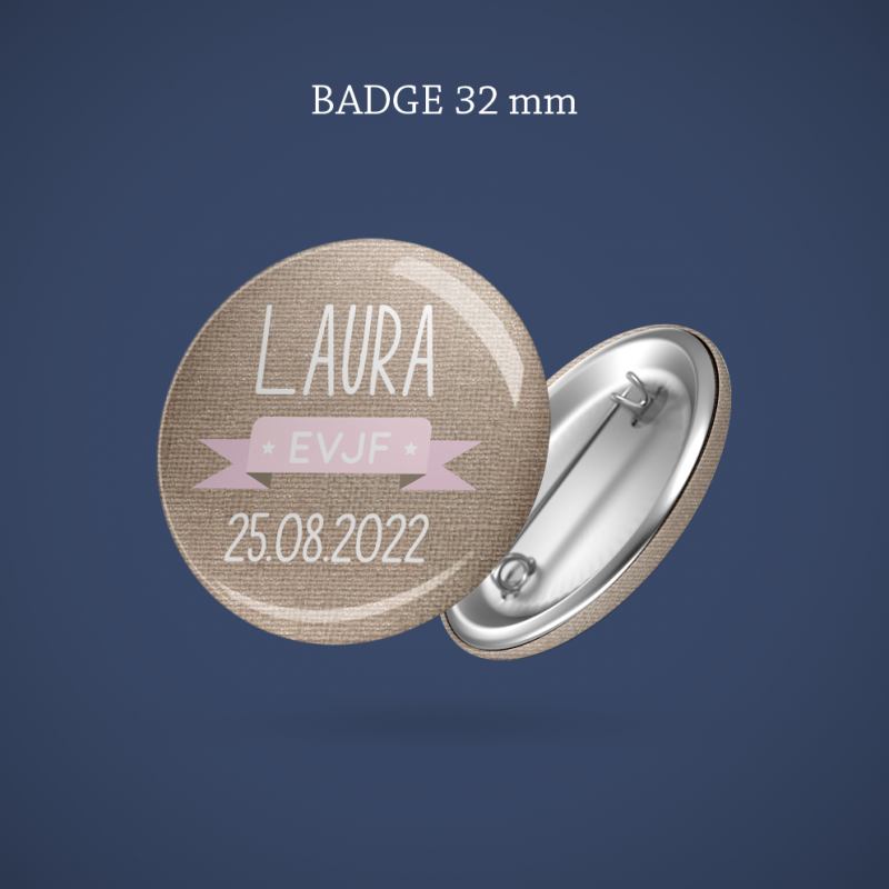 Badge EVJF Lin & branchage 32 mm
