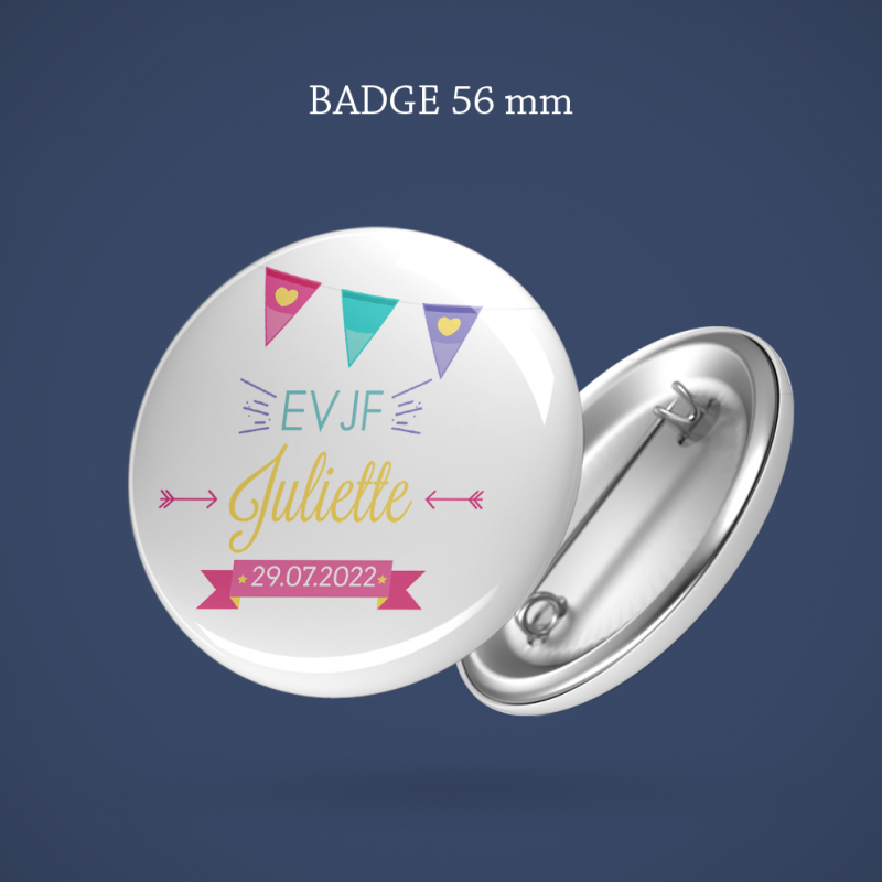 Badge EVJF Fanion 56 mm
