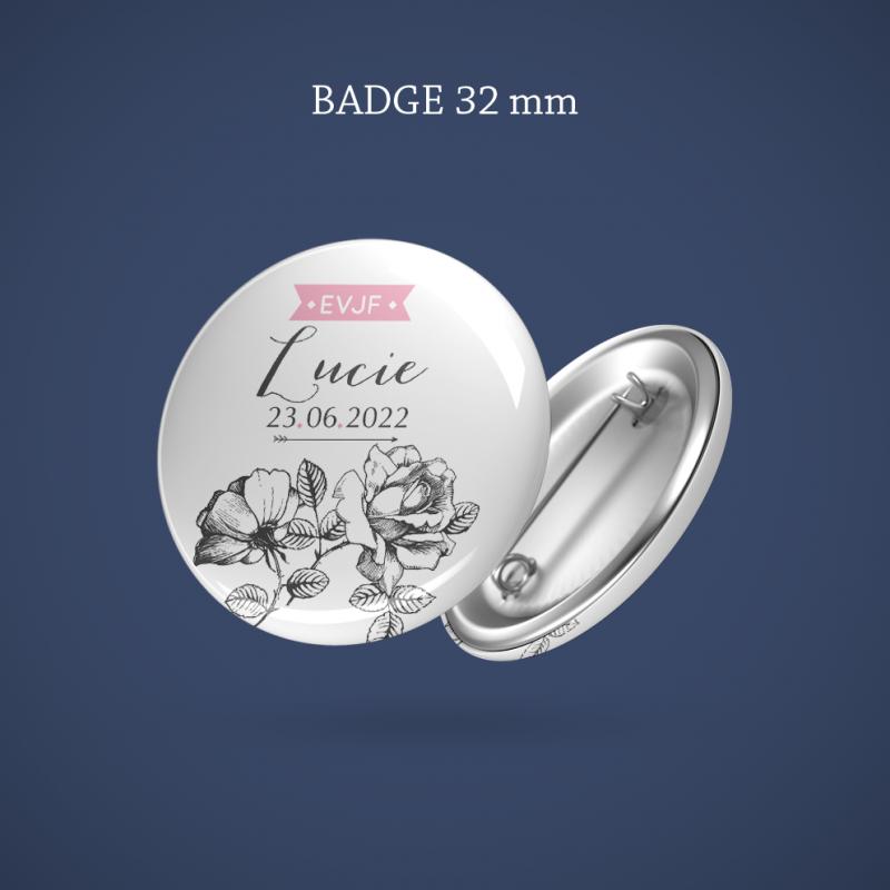 Badge EVJF Gravure rose 32 mm