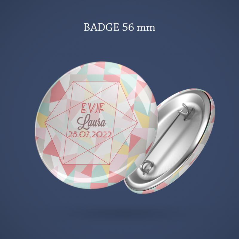 Badge EVJF Tendre pastel 56 mm