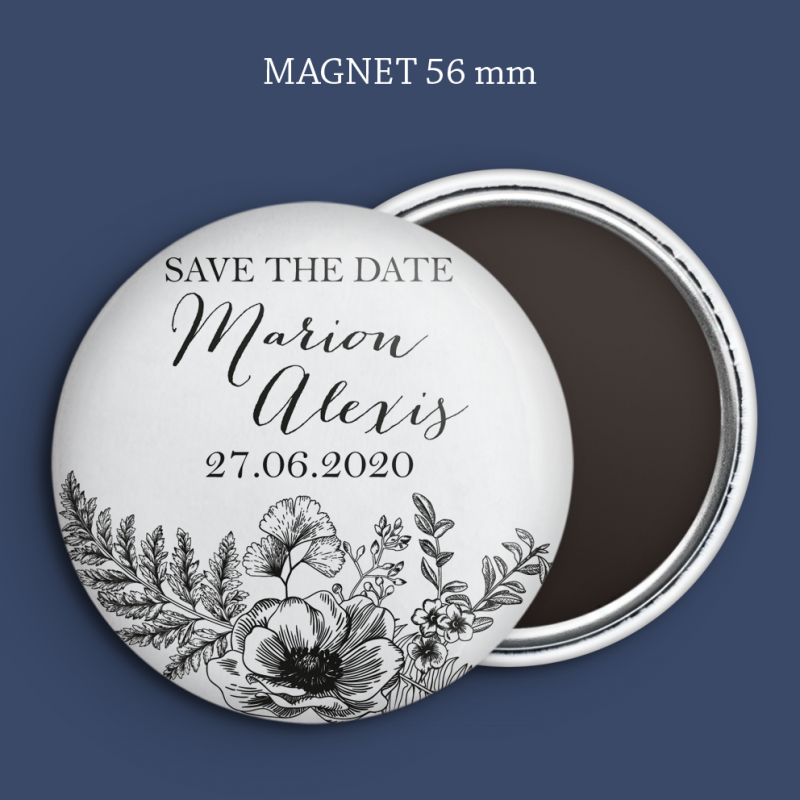 Magnet Save the date Gravure anémone