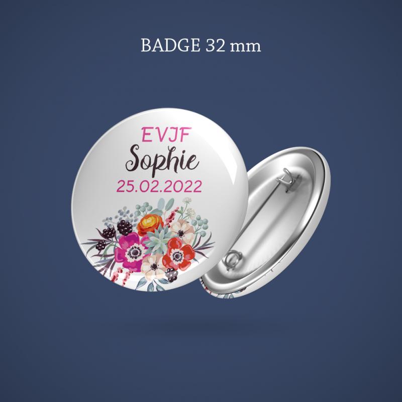 Badge EVJF Anémone 32 mm