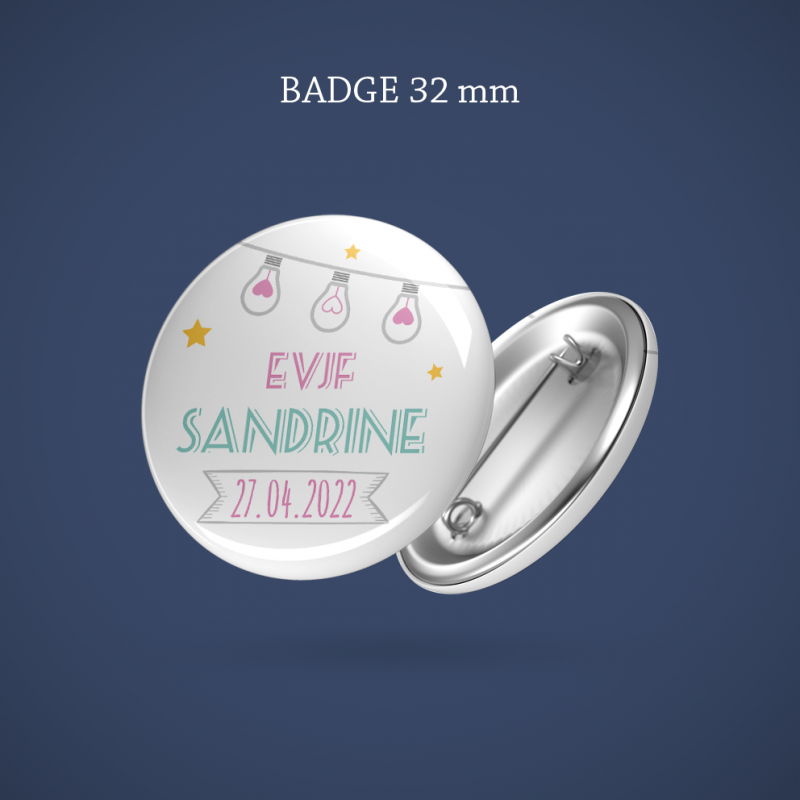 Badge EVJF Guirlande étoilée 32 mm
