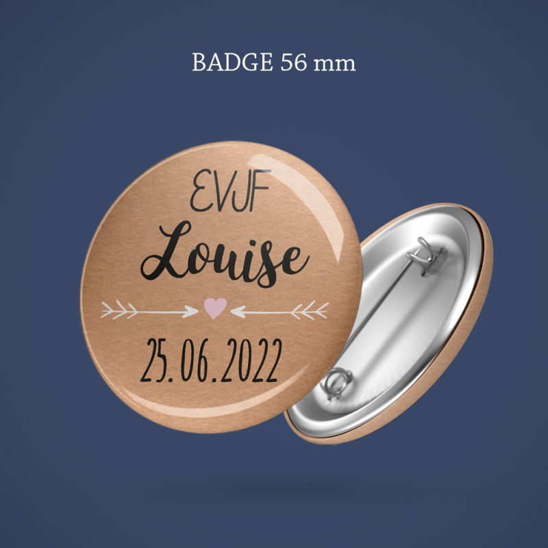 Badge EVJF Kraft & dentelle 56 mm