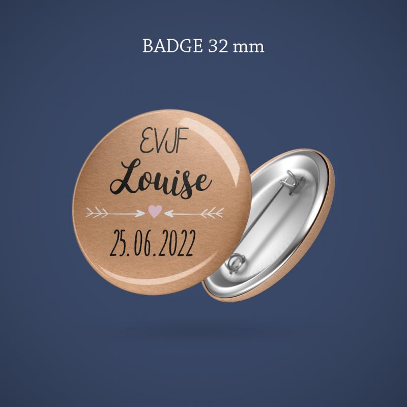 Badge EVJF Kraft & dentelle 32 mm
