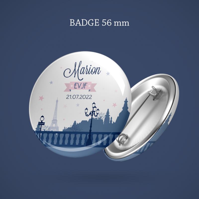 Badge EVJF Paris 56 mm
