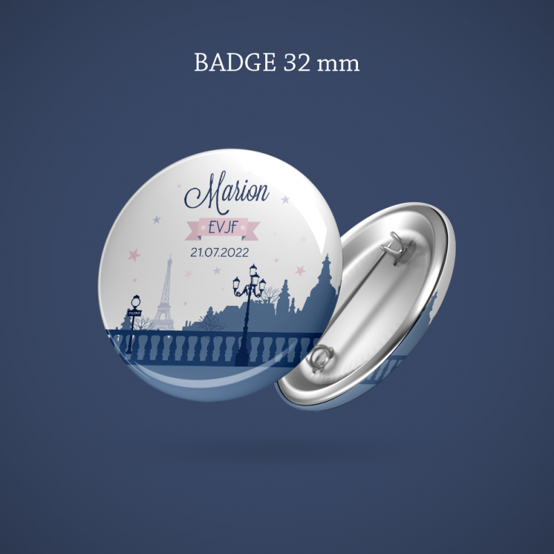Badge EVJF Paris 32 mm