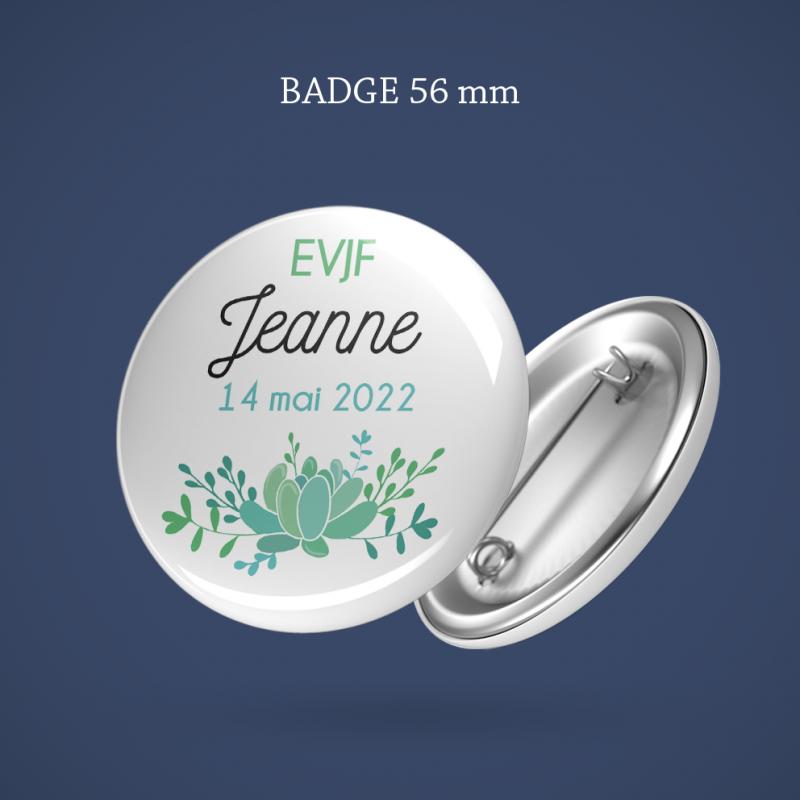 Badge EVJF Succulente 56 mm