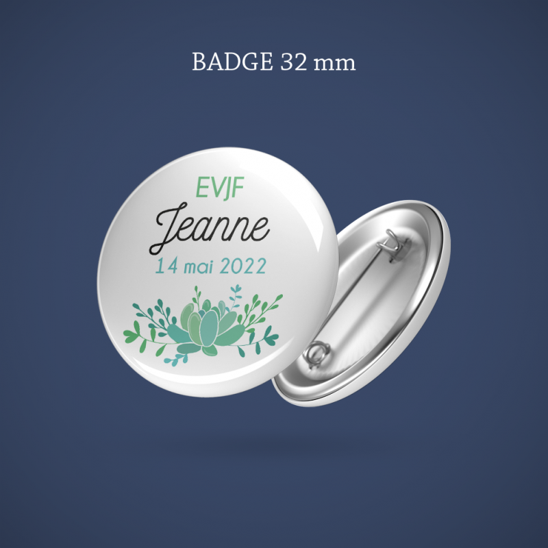 Badge EVJF Succulente 32 mm