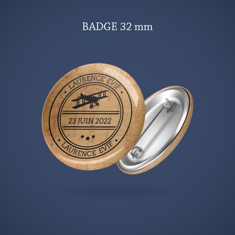 Badge EVJF Voyage imaginaire 32 mm