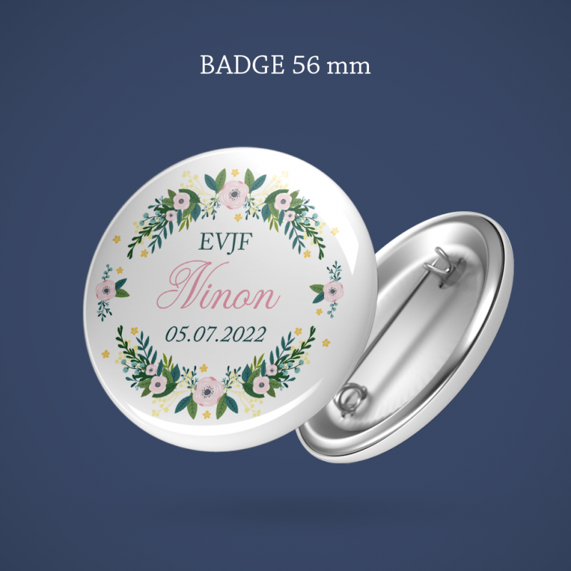 Badge EVJF Old roses 56 mm