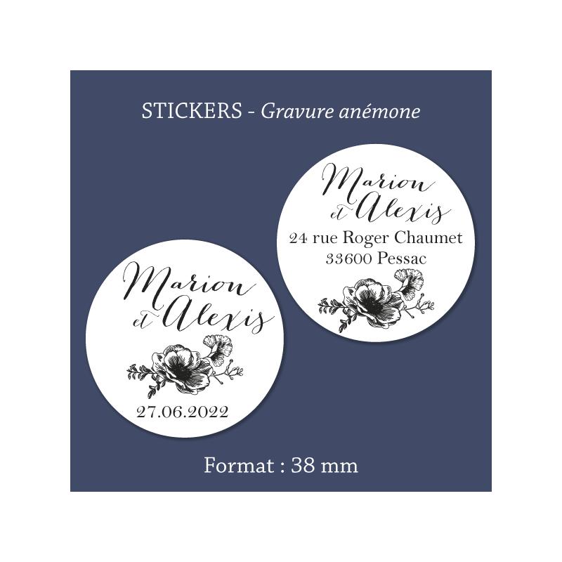 Sticker mariage Gravure anémone