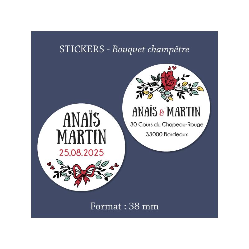 Sticker mariage Bouquet champêtre