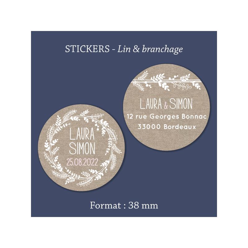 Sticker mariage Lin & branchage