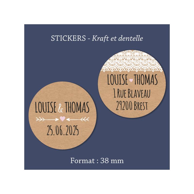Sticker mariage Kraft & dentelle
