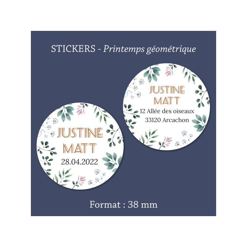 Sticker mariage Printemps géométrique