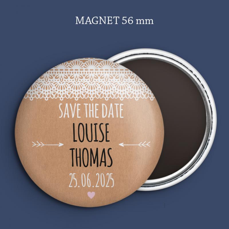 Magnet Save the date Kraft & dentelle