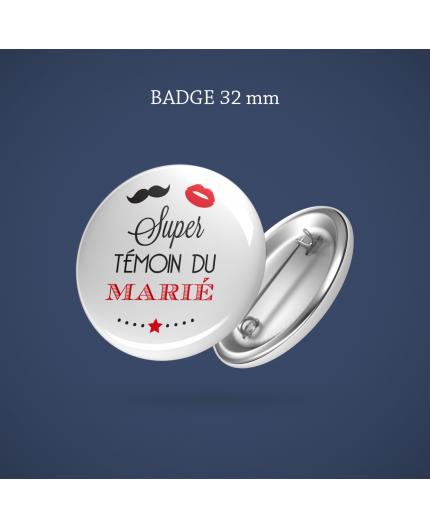 Badge Témoin marié(e) Bouche moustache 32 mm